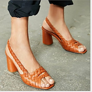 cheap Women's Sandals-Women's Sandals Chunky Heel Peep Toe PU(Polyurethane) Summer Black / Green / Almond