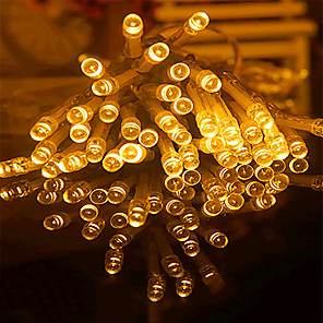 cheap LED String Lights-20m String Lights 160 LEDs 6pcs Warm White RGB White Creative Party Batteries Powered