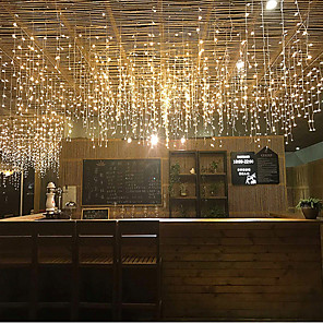 cheap LED String Lights-3*0.5m String Lights 96 LEDs 4pcs Warm White RGB White Creative Party Decorative 220-240 V 110-120 V