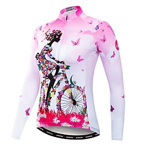 cheap Cycling Jersey & Shorts / Pants Sets-21Grams Floral Botanical Women's Long Sleeve Cycling Jersey - Pink Bike Jersey Top UV Resistant Breathable Moisture Wicking Sports Winter Fleece Polyester Elastane Mountain Bike MTB Road Bike Cycling