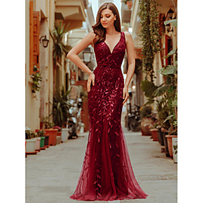 cheap Women's Heels-Mermaid / Trumpet Sparkle Red Wedding Guest Formal Evening Dress V Neck Sleeveless Floor Length Tulle Sequined with Sequin Appliques 2020
