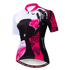 cheap Cycling Jerseys-EVERVOLVE Floral Botanical Women's Short Sleeve Cycling Jersey - Fuchsia Bike Jersey Top Breathable Moisture Wicking Quick Dry Sports Cotton Polyster Lycra Mountain Bike MTB Road Bike Cycling