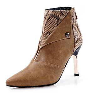 cheap Women's Boots-Women's Boots Stiletto Heel Pointed Toe Rivet Faux Leather Booties / Ankle Boots British / Minimalism Spring & Summer / Fall & Winter Black / Brown