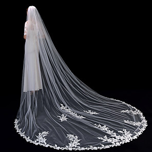cheap Wedding Veils-One-tier Lace Applique Edge / Elegant & Luxurious Wedding Veil Cathedral Veils with Appliques 137.8 in (350cm) Lace / Tulle / Oval