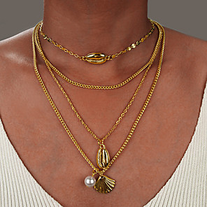 cheap Necklaces-Women's Necklace Layered Necklace Chrome Gold Silver 54 cm Necklace Jewelry 1pc For Daily Holiday School Street Festival