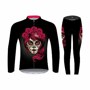 cheap Cycling Jersey & Shorts / Pants Sets-21Grams Sugar Skull Women's Long Sleeve Cycling Jersey with Tights - Black / Red Bike Clothing Suit Windproof UV Resistant Breathable Sports Winter Fleece 100% Polyester Mountain Bike MTB Clothing