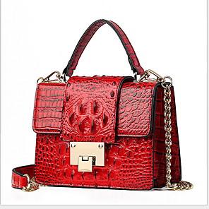 cheap Handbag & Totes-Women's Chain PU(Polyurethane) / PU Top Handle Bag Solid Color Black / Brown / White