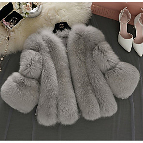 cheap Women's Boots-Women's Daily Basic Short Faux Fur Coat, Solid Colored V Neck Long Sleeve Faux Fur White / Blushing Pink / Gray