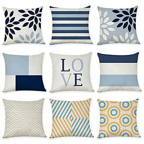 cheap Pillow Covers-9 pcs Linen Pillow Cover, Geometic Quotes & Sayings European Fashion Throw Pillow