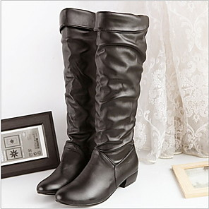 cheap Women's Boots-Women's Boots Knee High Boots Flat Heel Round Toe PU Knee High Boots Fall & Winter Black / Brown / White