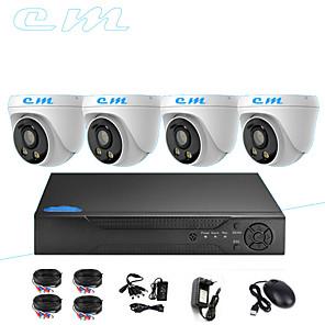 cheap NVR Kits-4CH AHD Monitor Set CCTV 1080P Indoor Hemisphere Warm Light Full Color Night Vision Camera 2 Million