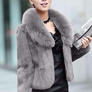 cheap Wedding Wraps-Women's Shirt Collar Faux Fur Coat Regular Solid Colored Party Work Streetwear Sophisticated Plus Size Winter Black / Wine / Green XS / S / M