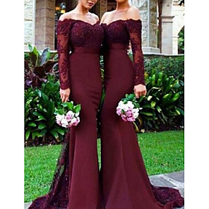 cheap Wedding Slips-Mermaid / Trumpet Off Shoulder Sweep / Brush Train Chiffon / Lace Bridesmaid Dress with Lace