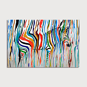 cheap Abstract Paintings-Oil Painting Hand Painted - Animals Modern Rolled Canvas