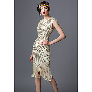 cheap Historical & Vintage Costumes-The Great Gatsby Charleston 1920s Roaring 20s Dress Women's Sequins Costume Black / Black / Red / Golden+Black Vintage Cosplay Party Homecoming Prom Long Sleeve Floor Length Long Length