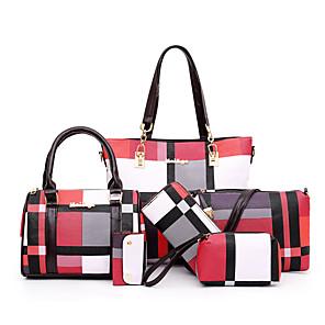 cheap Women's Heels-Women's Bags PU Leather Bag Set 6 Pieces Purse Set Zipper for Daily / Outdoor Black / Blue / Red / Green / Brown / Bag Sets