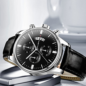 cheap Sport Watches-Men's Dress Watch Quartz Modern Style Stylish Leather Black / Blue / Brown 30 m Casual Watch Cool Large Dial Analog Casual - Black Black / White Rose Gold One Year Battery Life