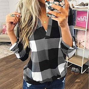 cheap Women's Sandals-Women's Daily Blouse Color Block Plaid Long Sleeve Loose Tops V Neck Blue Red Green