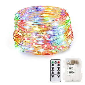 cheap LED String Lights-20m String Lights 200 LEDs Warm White RGB White Waterproof Creative Party Batteries Powered