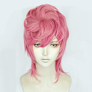 cheap Anime Costumes-JoJo's Bizarre Adventure Cosplay Cosplay Wigs Men's 14 inch Heat Resistant Fiber Pink Pink Anime