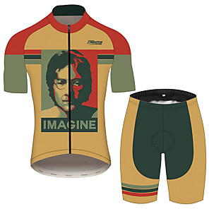cheap Cycling Jersey & Shorts / Pants Sets-21Grams John Lennon Men's Short Sleeve Cycling Jersey with Shorts - Black / Orange Bike Clothing Suit Breathable Quick Dry Moisture Wicking Sports 100% Polyester Mountain Bike MTB Clothing Apparel