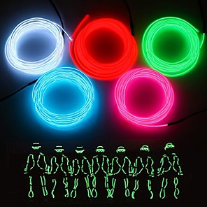 cheap Décor & Night Lights-3m Flexible LED Light Strips 1 LEDs EL 1pc White / Red / Blue Party / Decorative / Suitable for Vehicles AA Batteries Powered