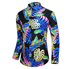 cheap Indoor Wall Lights-Men's Plus Size Shirt Graphic Print Long Sleeve Tops Basic Button Down Collar Black