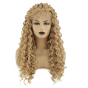 cheap Synthetic Trendy Wigs-Synthetic Lace Front Wig Loose Curl Kardashian Middle Part with Baby Hair Lace Front Wig Blonde Long Strawberry Blonde Synthetic Hair 22-26 inch Women's Heat Resistant Women Middle Part Blonde