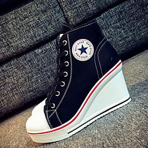 cheap Women's Boots-Women's Sneakers Wedge Heel Round Toe Canvas Summer Black / Light Blue / White