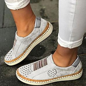 cheap Women's Sandals-Women's Loafers & Slip-Ons Flat Heel Round Toe PU Summer Black / Wine / White / Daily