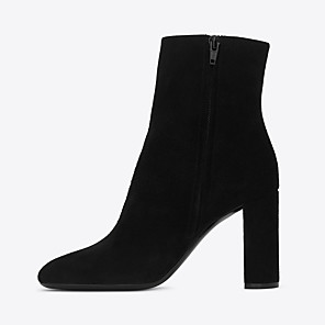 cheap Women's Boots-Women's Boots Chunky Heel Closed Toe Suede Booties / Ankle Boots British / Minimalism Spring &  Fall / Winter Black / Party & Evening