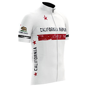 cheap Cycling Jerseys-21Grams California Republic National Flag Men's Short Sleeve Cycling Jersey - White Bike Top UV Resistant Breathable Quick Dry Sports Terylene Mountain Bike MTB Road Bike Cycling Clothing Apparel