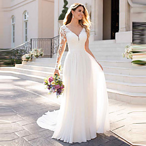 cheap Wedding Wraps-A-Line Wedding Dresses V Neck Chapel Train Chiffon Satin Long Sleeve Romantic Illusion Sleeve with Buttons Appliques 2020