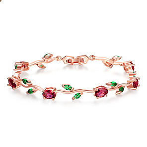 cheap Bracelets-Rose Gold Color Leaf Chain & Link Bracelet with Red  Green AAA Zircon for Mother Gifts Jewelry Long 19 Egg-shaped Main Stone 5*7 Eye 5*3 mm