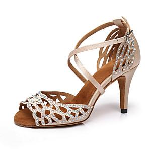 cheap Latin Shoes-Women's Dance Shoes Satin Latin Shoes Crystal / Rhinestone Heel Slim High Heel Pink / White / Performance