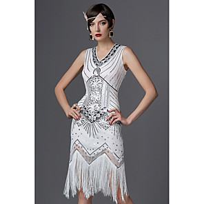 cheap Historical & Vintage Costumes-The Great Gatsby Charleston Roaring 20s 1920s Sparkle & Shine Flapper Dress Party Costume Masquerade Cocktail Dress Women's Sequins Tassel Fringe Costume Golden / Red / White Vintage Cosplay Party