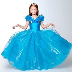 cheap Movie & TV Theme Costumes-Cinderella Dress Cosplay Costume Masquerade Girls' Movie Cosplay A-Line Slip Cosplay Halloween Blue / White Dress Halloween Carnival Masquerade Cotton / Polyester Blend