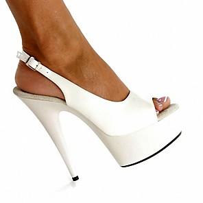 cheap Women's Sandals-Women's Sandals Plus Size Stiletto Heel Peep Toe British Party & Evening Office & Career Solid Colored PU Summer White / Black