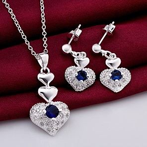 cheap Pearl Necklaces-Women's AAA Cubic Zirconia Drop Earrings Pendant Necklace 3D Heart Stylish Unique Design Silver Plated Earrings Jewelry Blue For Daily Work 1 set