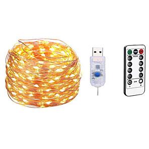 cheap LED String Lights-10m Light Sets / String Lights 100 LEDs SMD 0603 1 13Keys Remote Controller 1pc Warm White / White / Multi Color Waterproof / USB / Party 5 V / USB Powered