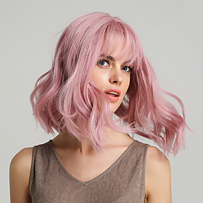 cheap Synthetic Lace Wigs-Synthetic Wig Body Wave Bouncy Curl Bob Asymmetrical Neat Bang Wig Pink Medium Length Pink Synthetic Hair 12 inch Women's Life Synthetic Natural Hairline Pink HAIR CUBE / For Black Women