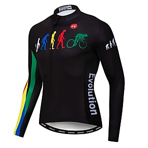 cheap Cycling Jerseys-21Grams Evolution Men's Long Sleeve Cycling Jersey - Black Bike Jersey Top UV Resistant Breathable Quick Dry Sports Winter Elastane Terylene Polyester Taffeta Mountain Bike MTB Road Bike Cycling