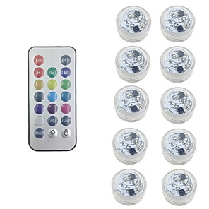 cheap LED Cabinet Lights-10X RGB LED Submersible Light Bulb Button Battery Round Candle  Underwater Lamp With Free Remote Control IP68 Waterproof Dimmable Lamp For Pond Swimming Pool Decoration Lighting (come with battery)