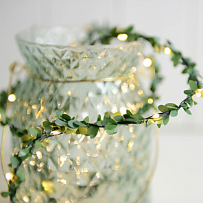 cheap LED String Lights-3m Rattan String Lights with Artificial Leaves 30 LEDs Warm White Party Decoration AA Batteries Powered 1pc