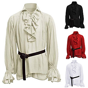 cheap Historical & Vintage Costumes-Knight Ritter Medieval Renaissance Shirt Men's Costume Black / White / Red Vintage Cosplay Party