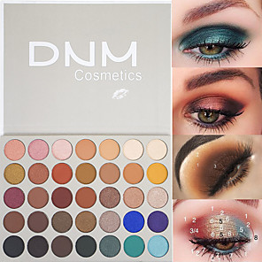 cheap Eyeshadows-Brand DNM 35 Color Magic Eye Shadow Palette Matte Metal Shiny Flash High Gloss Waterproof Lasting Eye Makeup