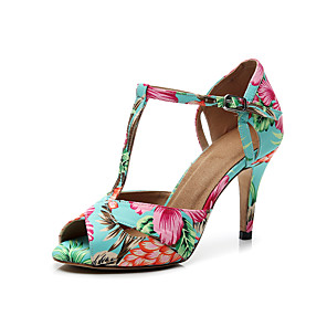 cheap Women's Heels-Women's Sandals Summer / Fall Stiletto Heel Peep Toe Minimalism Daily Office & Career Flower Plaid / Check Satin Rainbow