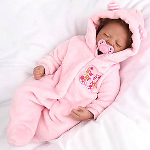 cheap Dolls Accessories-NPK DOLL 22 inch Reborn Doll Reborn Toddler Doll Baby Boy Baby Girl Newborn Safety Gift Cute Cloth 3/4 Silicone Limbs and Cotton Filled Body with Clothes and Accessories for Girls' Birthday and