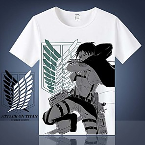 cheap Anime Costumes-Inspired by Attack on Titan Eren Jager Cosplay levi ackerman Anime Cosplay Costumes Japanese Cosplay T-shirt T-shirt For Men's Women's
