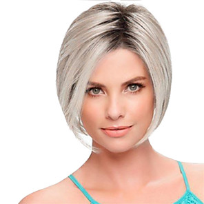 cheap Synthetic Trendy Wigs-Synthetic Wig Straight Emma Bob Pixie Cut Short Bob Wig Short Silver Synthetic Hair 12inch Women's Soft Heat Resistant Classic Silver